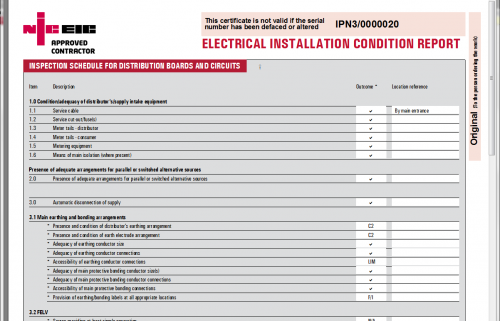 Domestic electrical installation condition report codes